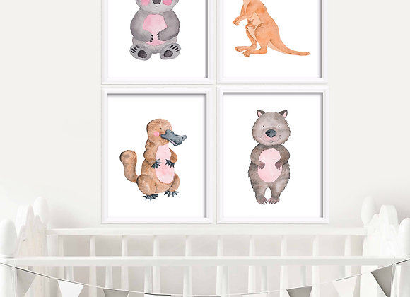 Australian Animals Birth Announcement Nursery Wall Art