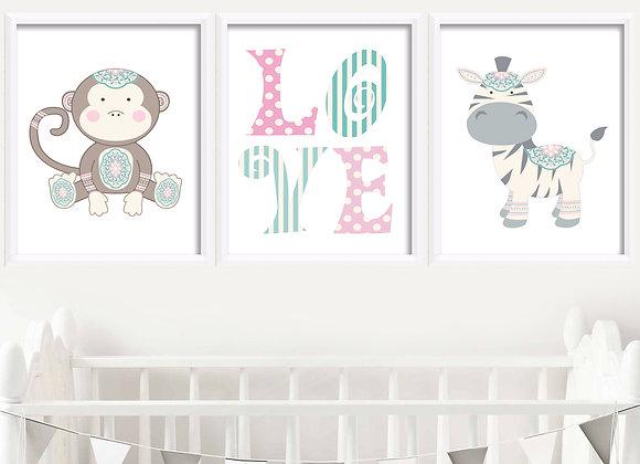 Baby Zoo Animals Birth Announcement Nursery Wall Art