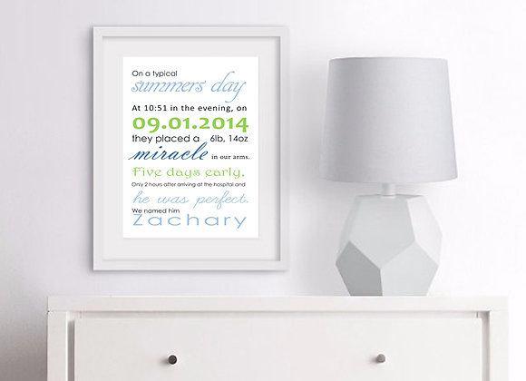 Story Time Birth Announcement Nursery Wall Art