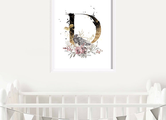 Floral Initial Birth Announcement Nursery Wall Art