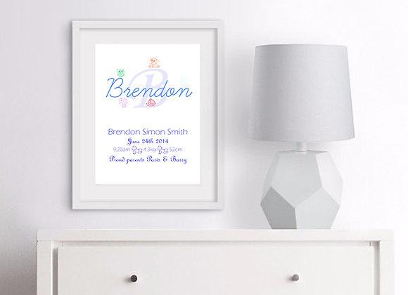 Name Birth Announcement Nursery Wall Art