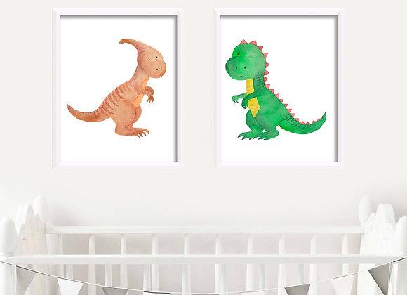 Baby Dinosaurs Birth Announcement Nursery Wall Art
