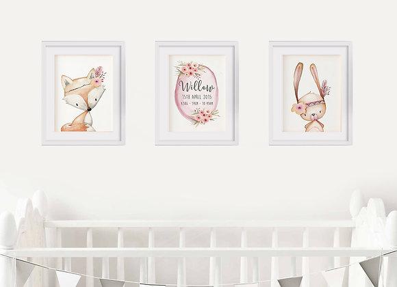 Woodland Animals Birth Announcement Nursery Wall Art