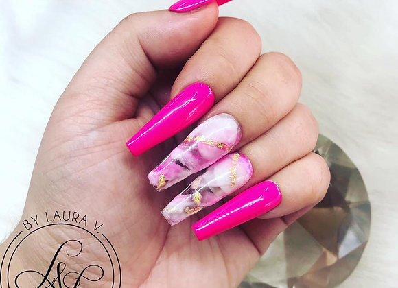 Hot Pink & White Marble with Foil