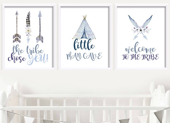 Boho Birth Announcement Nursery Wall Art