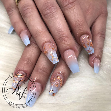 ombre acrylic nails with foil