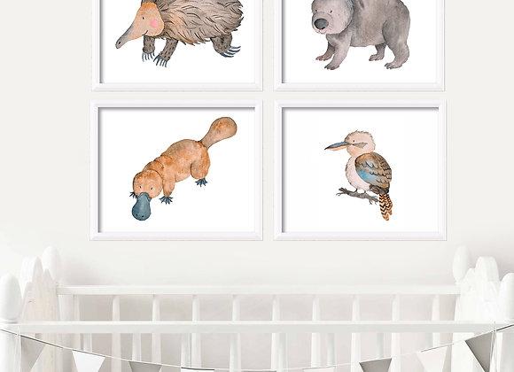 Australian Animals Birth Announcement Nursery Wall Art