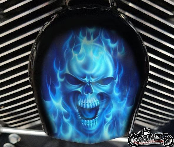 BLUE FLAMES SKULL (HORN)