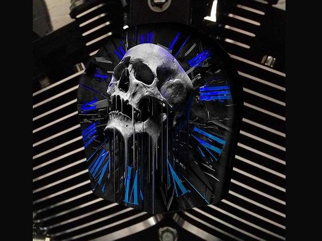 SKULL CLOCK (BLUE) (HORN)