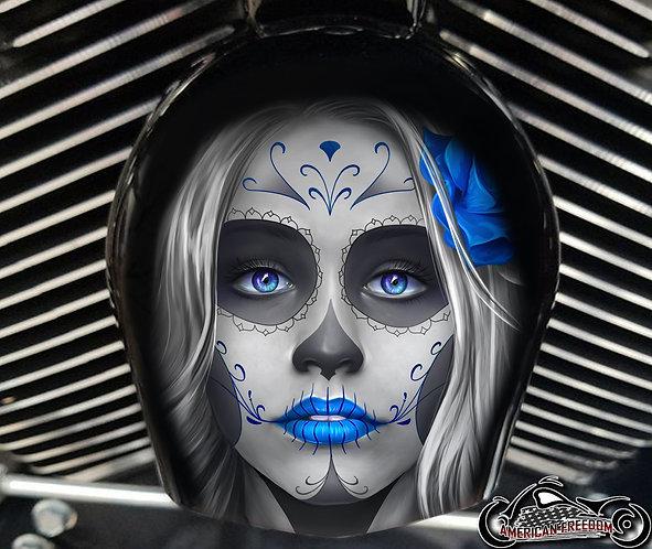 Day of dead sugar skull Blue (HORN)