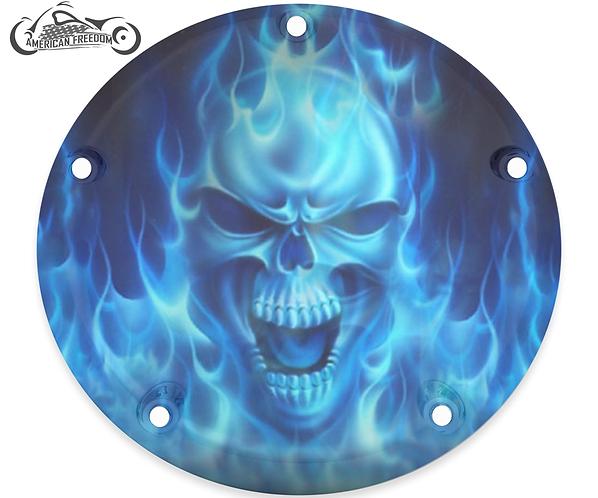 BIG BLUE FLAMES SKULL