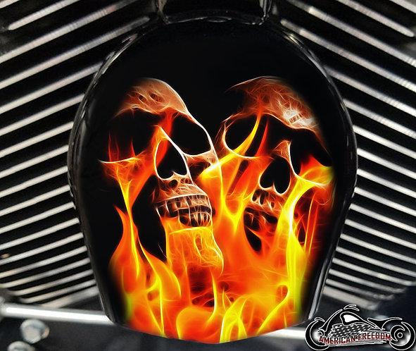 TWIN FLAMING SKULLS (HORN)