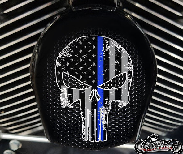 PUNISHER DISTRESSED THIN BLUE LINE (HORN)