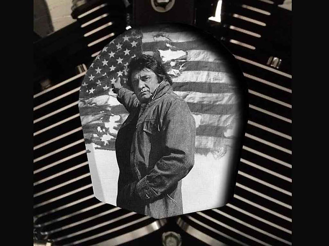 JOHNNY CASH FLAG (BLACK & WHITE) (HORN)