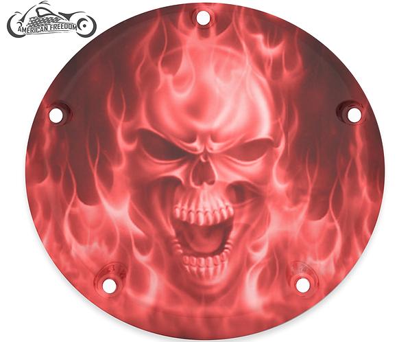 BIG RED FLAMES SKULL