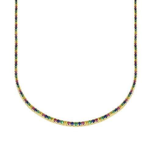 gargantilla circonita multicolor gold