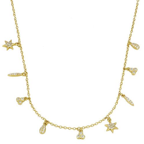 colgante abalorios circonita (plata chapada en oro)