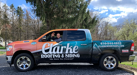 Roofing Truck, Truck Wrap, Roofing Business, Roofing truck wrap, Clark Roofing, Clarke Roofing, Pennsylvania Leading Roofer, Best roofer in the World, Top Quality, GAF, Hellertown, Hellertown Businesses, Roofing Business, Top Roofer, PA Roofer, Roofer near me, how to reaplace roof, how to shingle roof