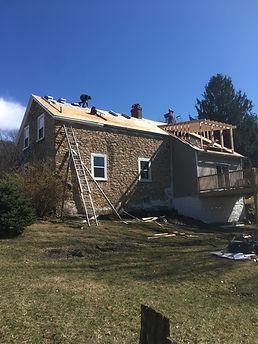 Stone House, Dormer, Clarke Roofing, Roofer, Pennsylvania, Lehigh Valley, Weatherd Wood GAF, Shingles