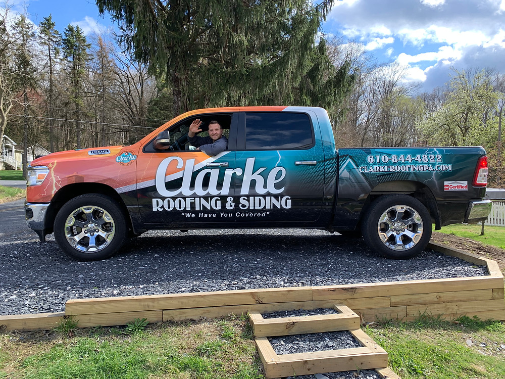 Truck, Wrapped Truck, Roofing Truck, Roofer, Clarke Roofing, Roofer near me,Best Roofer, Should I reaplce my roof, how much does it cost to wrap a car, business lettering, new truck, pennsylvania roofer, Roofer in bethlehem, Roofer in allentown, Roofer in Doylestown, Roofer in Hellertown, Roofer in Emmaus, Roofer in Allentown, Roofer in Coopersburg, Hail damage, Hail storm, New roof from hail, will insurance pay for a new roof, Clarke, Clarke Roofing