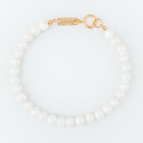 Necklace - bold pearls - gold