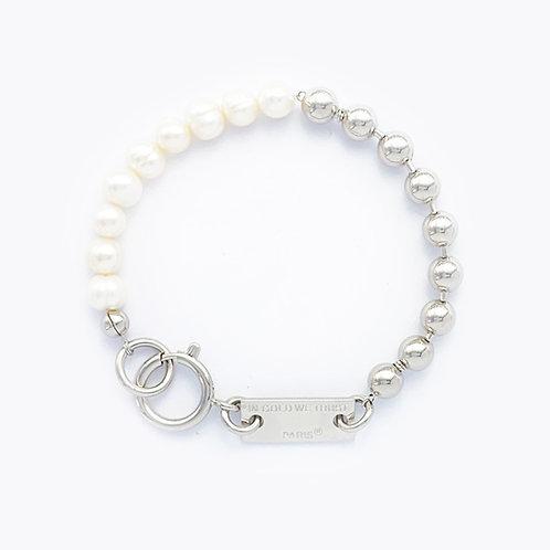 Bracelet chaine boules palladium et perles