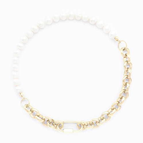 NECKLACE - BOLD PEARLS/CHAIN - GOLD
