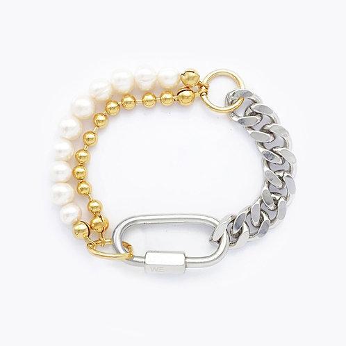 Bracelet cuban link palladium - chaine boule et perles
