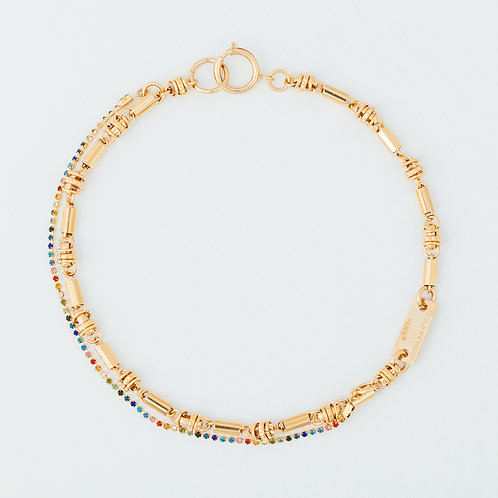 Necklace - hippie chain and rhinestones - gold