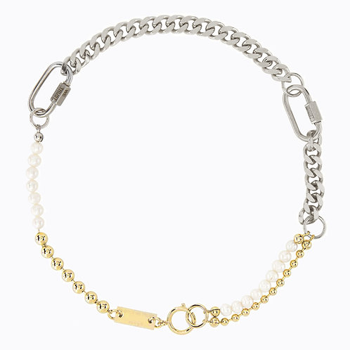 Collier mix 3 bracelets palladium