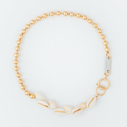 Collier chaine boule gold et coquillages