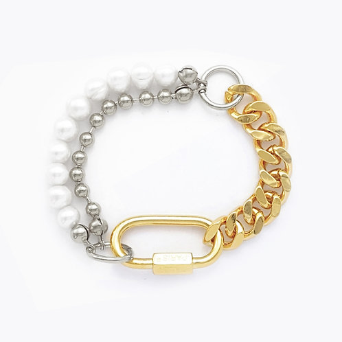 Bracelet cuban link gold - chaine boule et perles