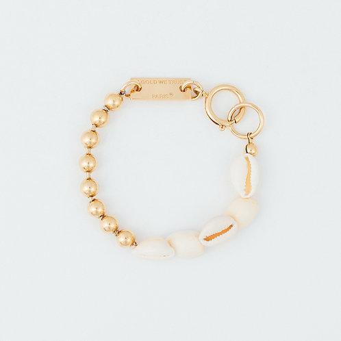 Bracelet chaine boules gold et coquillages