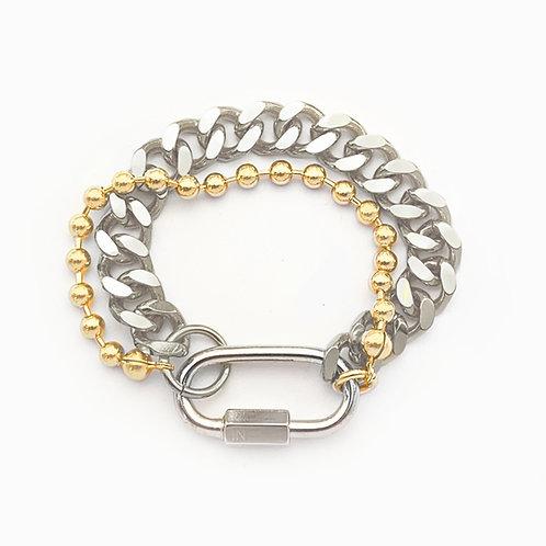 Bracelet cuban link palladium et chaine boule