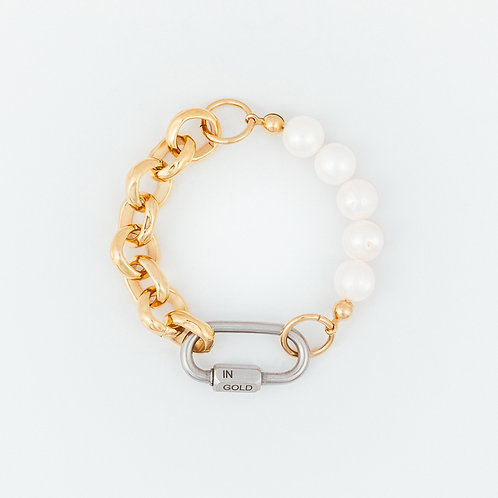 BRACELET - bold pearls & chain - gold
