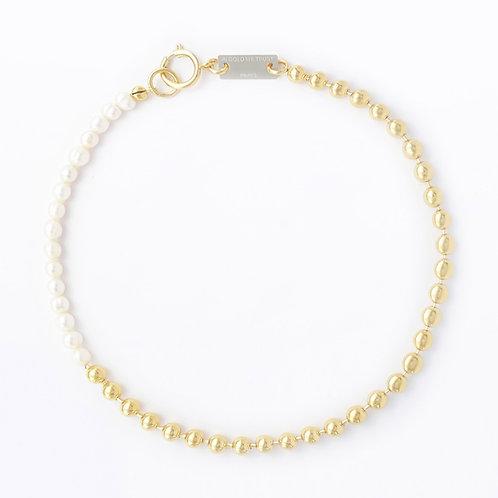 Collier chaine boule gold et perles
