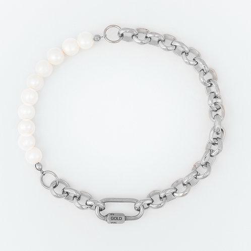 Necklace - bold pearls & chain - palla