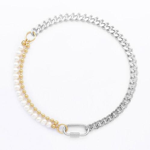 Collier cuban link palladium - chaine boule et perles