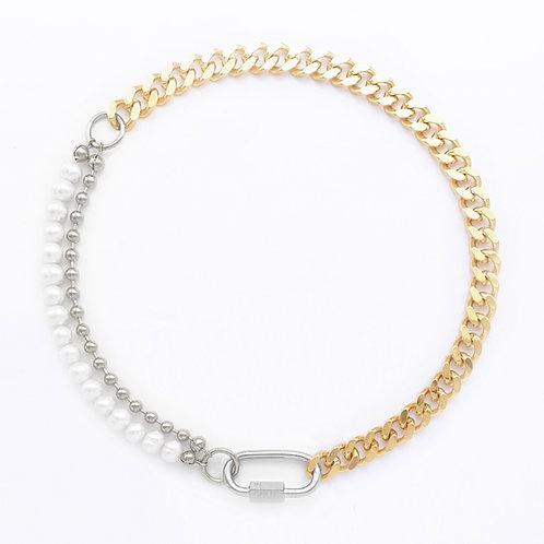 Collier cuban link gold - chaine boule et perles