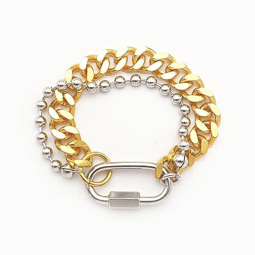 Bracelet cuban link gold et chaine boule