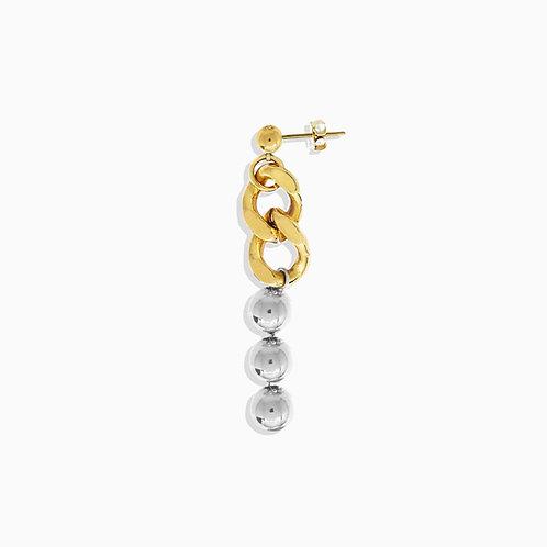 Boucle d'oreille cuban  link gold et chaine boule