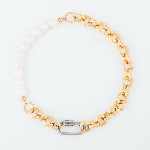 Necklace - bold pearls & chain - gold