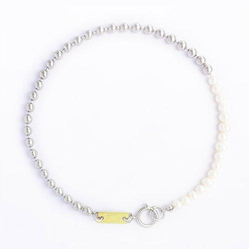 Collier chaine boule palladium et perles