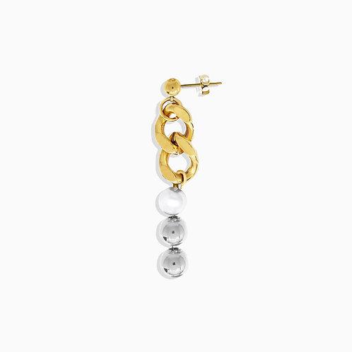 Boucle d'oreille cuban link gold - chaine boule et perle