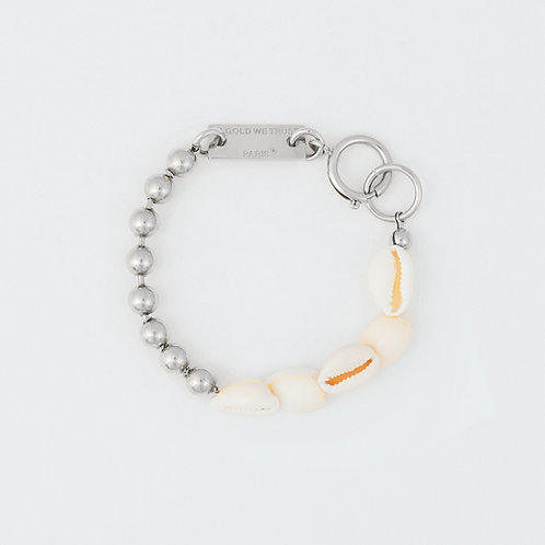 Bracelet chaine boules palladium et coquillages