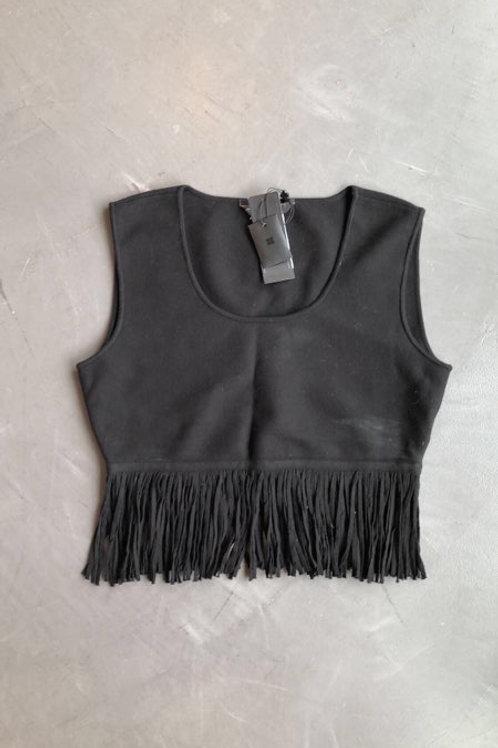 BCBG MAXAZRIA Black Fringe Crop Top Size Large