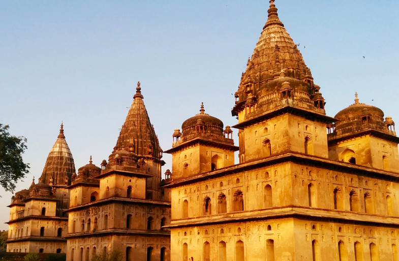 Temples glowing in the afternoon sun, Orcha India