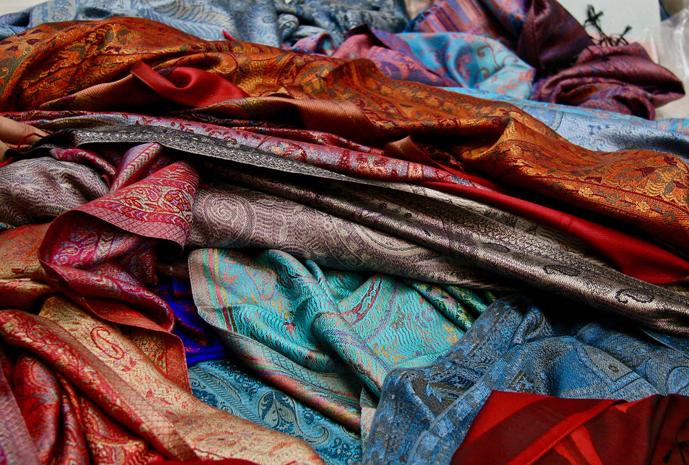 Layers of the some of the finest silk pashminas in the world