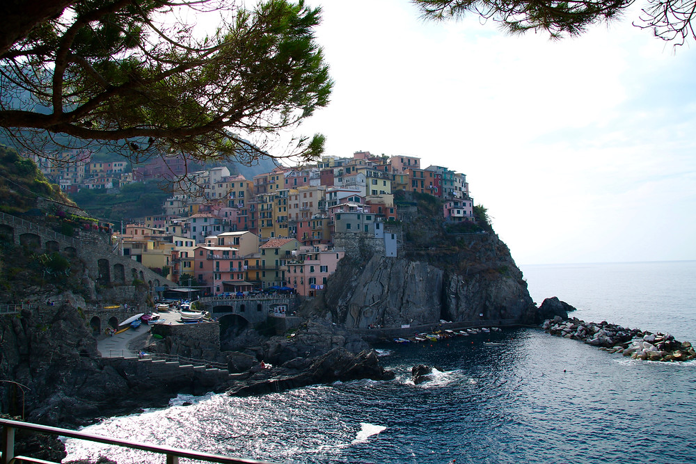 Manarola seen from lovers walk on an adjacent clifftop.