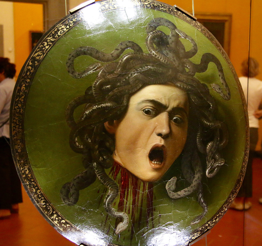 Medusa's severed head depicted on a shield in Museo Galileo